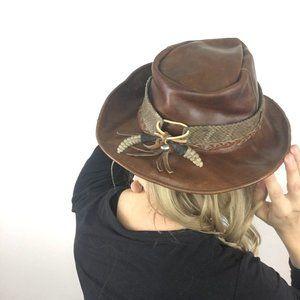 Vintage Leather Hat Real Rattlesnake hat band 7